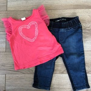 12-18M Baby Gap Flutter Sleeve Tee + Jegging Set